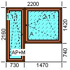 Mediniai langai EURO 68